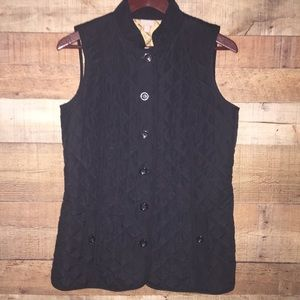 J. Jill | Black Heritage Quilted Button Down Vest